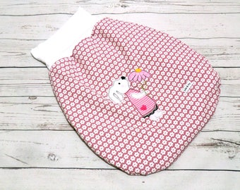 Infant sleeping bag from 0 to 6 months old rose with fleece feed and embroidery bunny girl, Schlafsack, Pucksack altrosa Hasenmädchen