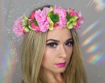 Tropical Pink and Green Flower Crown, Day of the Dead headpiece