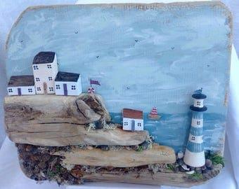 Clifftop seascape; wooden houses; driftwood cottages; lighthouse; bathroom art; handmade original art; birthday present for beach lover