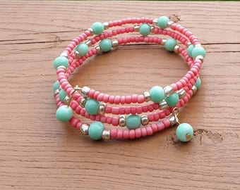 Mint Green and Coral beaded memory bracelet and matching earrings