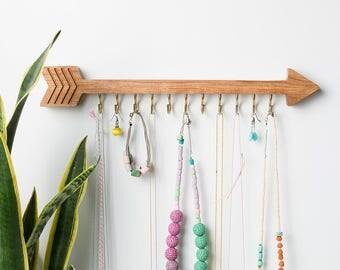 Arrow holder, Jewelry organizer, Wall hanger, Bracelet holder, Wooden display, Jewelry holder, Wall decor, Scandinavian style, Necklace rack
