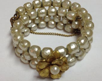 Vintage Miriam Haskell Baroque Pearl Coil Wrap Bracelet with Signed Tag
