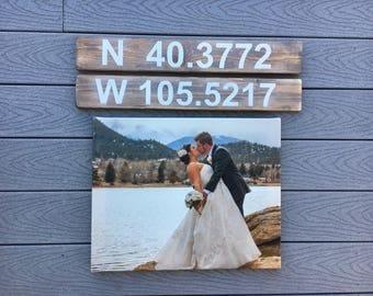 Latitude & longitude / coordinates / love wedding rustic wood sign