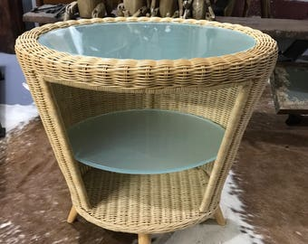 Coffee table, conservatory table, garden room table, kitchen table, lamp table Rattan and glass end table,