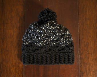 Handmade Crochet Black/White Chunky Winter Beanie Hat
