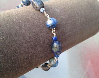 Blue lapis lazuli beaded bracelet