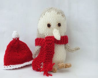 Christmas Owl, Hand Knitted Animals, Small Stuffed Soft Toys, Kids Gifts