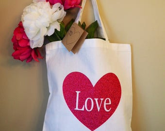 Love Heart White Canvas Tote Bag
