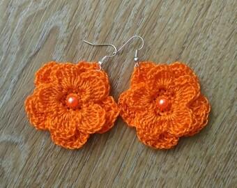 Earrings crochet Orange Flower Free shipping Made in Russia