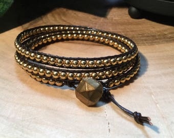 Brown leather and Golden beads wrap bracelet