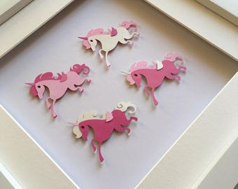 Unicorn 3D wall art, Personalised Art Work, Unicorn Picture, Nursery Picture, New Baby Art