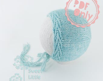 PDF pattern ONLY - Delphine bonnet pattern for newborn size photography prop