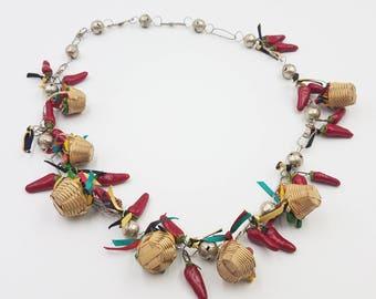"Garden Charm Necklace Long 28"" Baskets Vegetables, Silver Beads Vintage Costume"