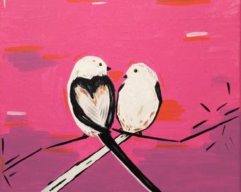 Small Painting Unique Gift for Her Lovely Painting Two Birds Painting Love Painting Pink Acrylic Painting 25*25 cm by Maria Bukharova