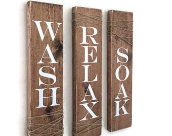 Rustic Bathroom Signs, Set Of Three, Rustic Bathroom Decor, Rustic Bathroom Sign, Farmhouse Wall Decor, Wall Hanging, Wash Soak Relax Sign