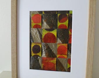 An Original Weaving Collage Mixed Media in Red, Yellow and Brown  Abstract Art Ready To Ship