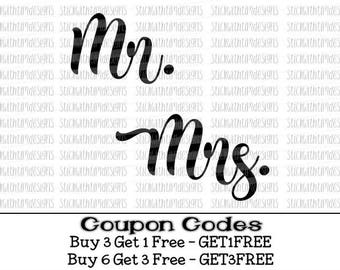 Mr. and Mrs. Svg, SVG and PNG File, Wedding Svg, Married Svg files for Cricut Svg files for Silhouette, Svg Designs, Wedding Cutting File