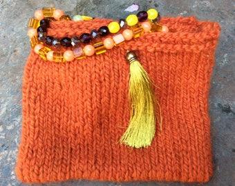 Clutch bag, purse has wool and alpaca jewelry