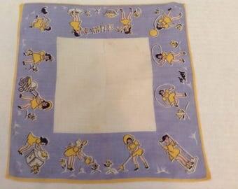 Vintage Handkerchief / Busy Little Girl