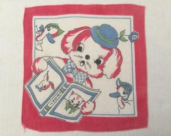 Vintage Handkerchief / Child's Puppy Storytime