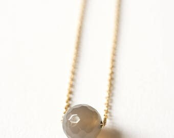 Necklace chain gold plated end and grey Agate