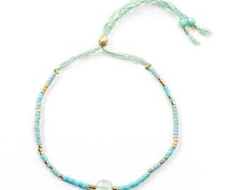 Miyuki and Aqua chalcedony bracelet