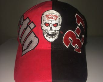 Vintage stone cold steve austin 3:16 wwf velcro back hat