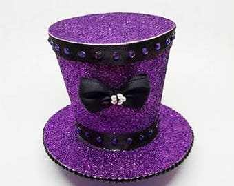 Glitter purple mini top hat fascinator
