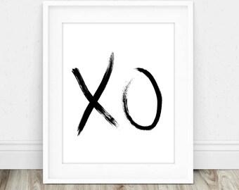XO Print - XO, Xoxo, Xo Poster, Xo Wall Art, Xoxo Print, Paint Stroke Print, Kiss Wall Art, Hugs and Kisses, Modern Wall Art Print
