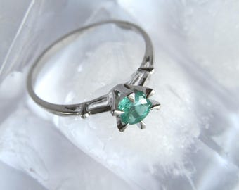 Sterling Silver Ring, Natural Emerald Ring, Handmade Ring, Fine Jewelry