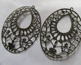 2 oval prints watermarked metal bronze 65 x 47 mm