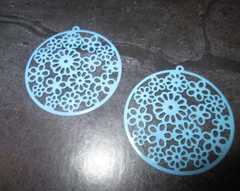 2 prints /connecteurs round turquoise filigree 42 mm