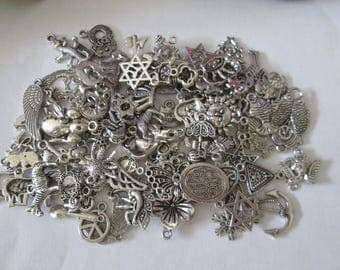 set of 100 mixed charms in silver #