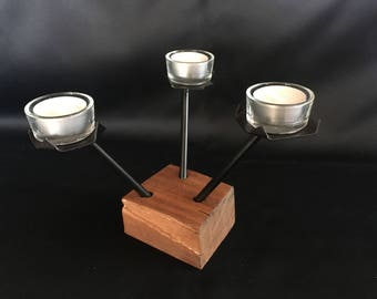 Candlestick in exotic wood and metal