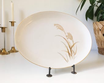 "Vintage Golden Wheat 12"" Oval Serving Platter + Wheat Design with Gold Rim + Harmony House Fine China + Mid Century + Vintage Serving"