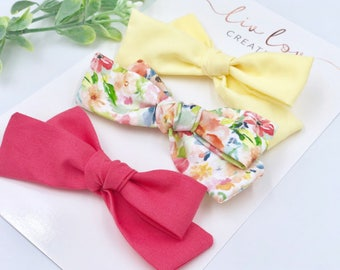 Baby Girl classic Bow Headband - Hair clips- Nylon Headbands - Infant / Toddler /  Fabric Hair Bows - spring florsl set