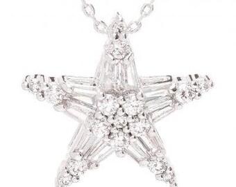 925 Sterling Silver White Star Zircon Necklace
