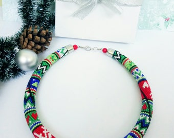 Crochet necklace Bead crochet rope Seed bead jewelry Christmas gift Rainbow necklace Christmas jewelry Christmas ornament  Bright jewelry