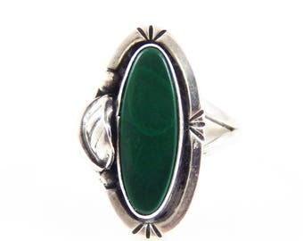 Vintage Taxco Mexico Sterling & Malachite Ring