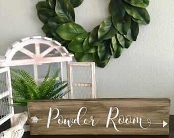 """Wooden Arrow Bathroom Sign """"Powder Room"""" with Customized Colors & Size"""
