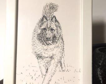 Custom Pet Portrait - Original Ink Illustration A5