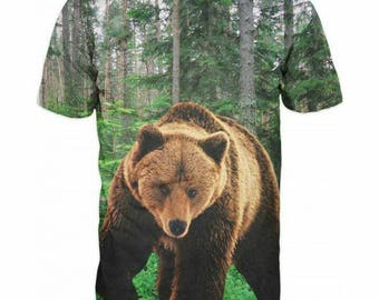 New ultramodern 3D  High Quality  Print Hunting Bear short Sleeve real NatureT-shirt
