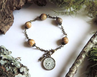 """Precious little"" Bracelet: pendulum and key Jasper semi-precious beads."