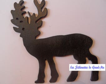 Black reindeer in feet, wooden wall decoration