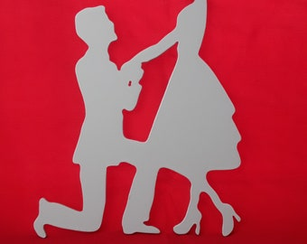 Silhouette couple cut cans with 3 mm medium and painted by hand