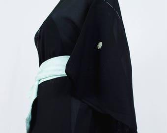 Vintage Silk Kimono Robe - Women's Clothing/silk robe/black robe/kimono jacket/dressing gown/boho kimono/coverup/kimono cardigan/poncho