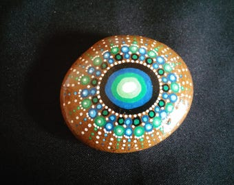 Turquoise mandala painted Pebble paperweight