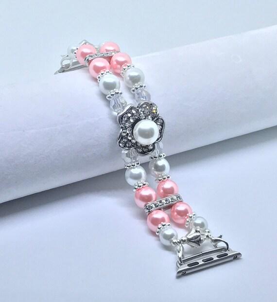 Apple Watch Band, Women Bead Bracelet Watch Band, iWatch Strap, Apple Watch 38mm, Apple Watch 42mm, Faux Pink Pearl, Crystal Size 6 3/4 - 7