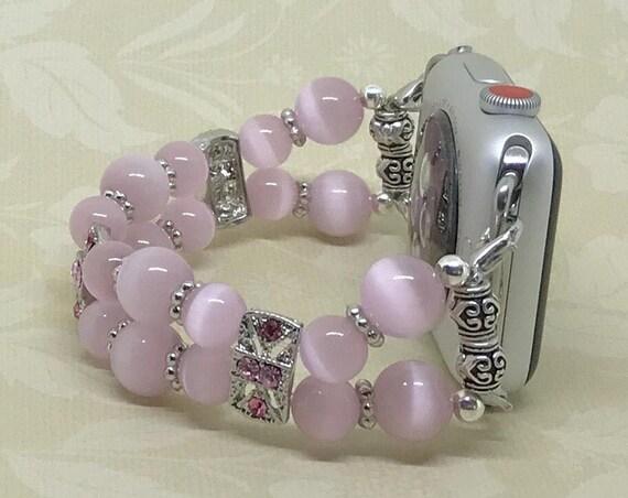 """Apple Watch Band, Women Bead Bracelet Watch Band, iWatch Strap, Apple Watch 38mm, Apple Watch 42mm, Pink Cats Eye, Size 6 1/2 - 6 3/4"""""""