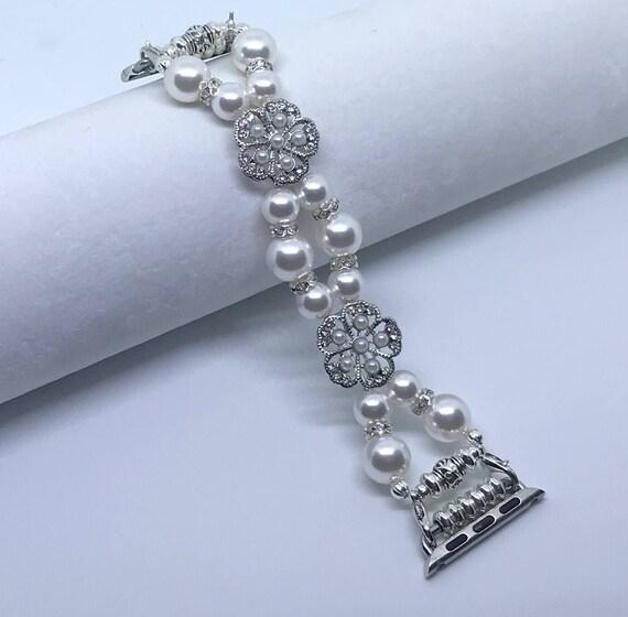 "Apple Watch Band, Women Bead Bracelet Watch Band, iWatch Strap, Apple Watch 38mm, 42mm, White Swarovski Pearls Silver Metal 6"""